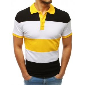 Trendy dámske čierno-žlté pánske tričko s golierom a krátkym rukávom