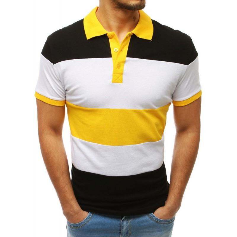 e3a663d42649 Trendy dámske čierno-žlté pánske tričko s golierom a krátkym rukávom