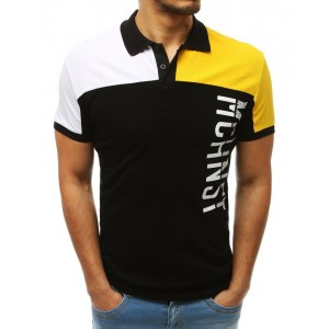 Štýlové pánske polo tričko čierne v kombinácii bielej a žltej farby