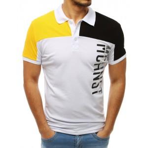 Pánske biele tričko s golierom a nápisom v kombinácii žltej a čiernej farby