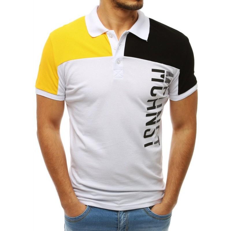 26db6464ddc8 Pánske biele tričko s golierom a nápisom v kombinácii žltej a čiernej farby