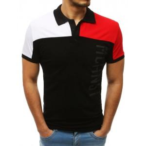Pánske čierne tričko s golierom a nápisom