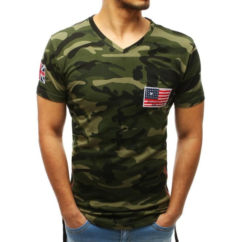 3b7764c30d7b Štýlové pánske maskáčová tričko s V výstrihom a trendy bočnými zipsami