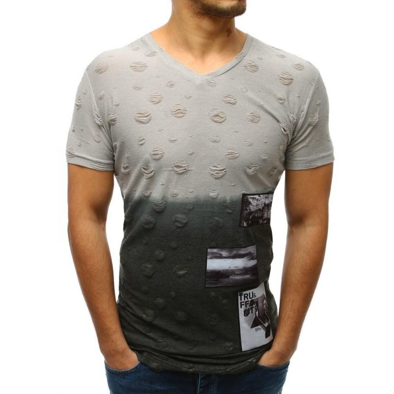 00f625087 Svetlo sivé pánske tričko s krátkym rukávom s trendy dierami a záplatami