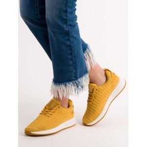 Dámske platené tenisky v žltej farbe