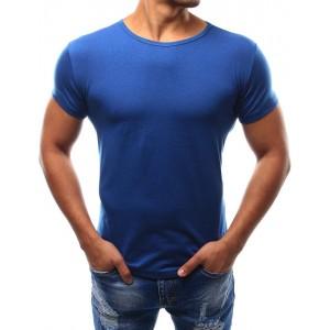 Jednofarebné pánske modré tričko s okrúhlym výstrihom