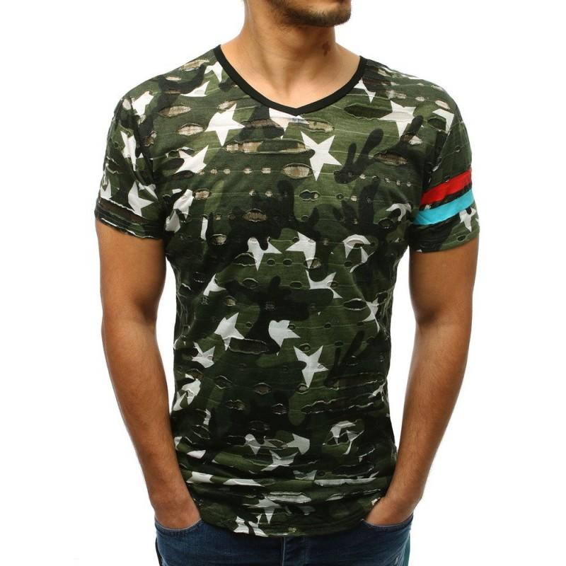 88aacc72655c Trendy pánske zelené maskáčové predĺžené tričko s potlačou hviezd