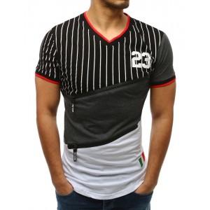 Štýlové čierne pásikované pánske tričko s dizajnovými prednými zipsami