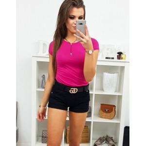 Krásne jednofarebné dámske tričko vo fuchsiovej farbe