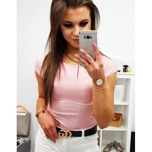 Romantické jednofarebné ružové dámske tričko s krátkym rukávom