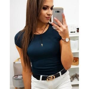 Trendy dámske jednofarebné tričko v tmavo modrej farbe