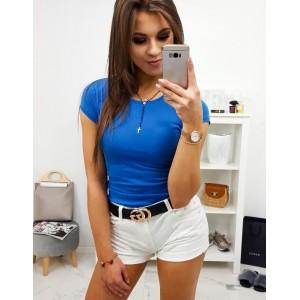 Krásne jednofarebné dámske modré tričko s okrúhlym výstrihom
