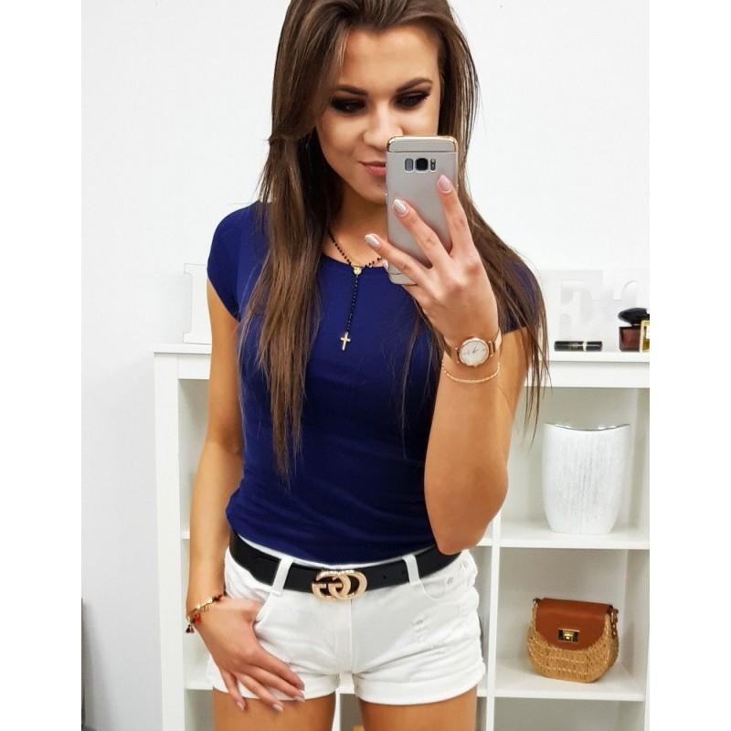 5b311c46ab57 Dámske jednofarebné tričko s krátkym rukávom v granátovo modrej farbe