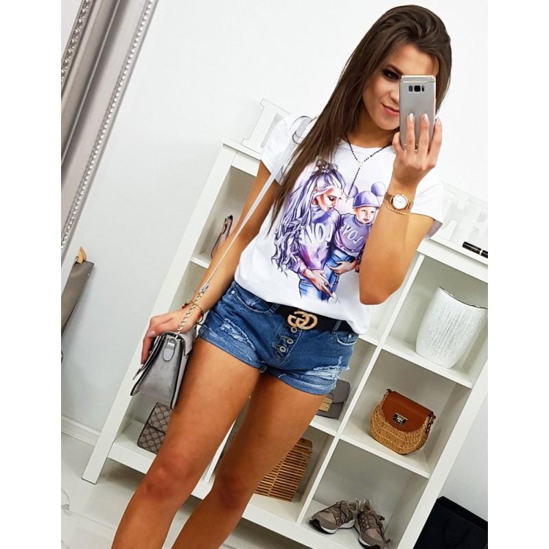 8bc2bd7cc097 Trendy dámske tričko biele predĺženého strihu s potlačou BABY LOVE