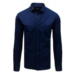 Elegantná pánska tmavo modrá košeľa s dlhým rukávom