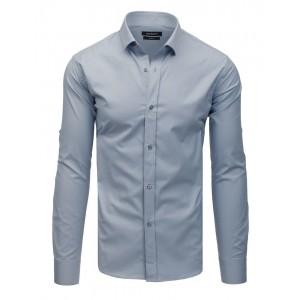 Jednofarebná svetlo sivá slim fit košeľa so zapínaním na gombíky
