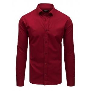 Originálna bordová slim fit jednofarebná pánska košeľa s dlhým rukávom