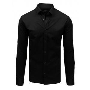 Elegantná pánska čierna koseľa s dlhým rukávom a zapínaním na gombíky