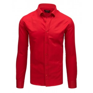 Pánska spoločenská ostro červená košeľa s dlhým rukávom