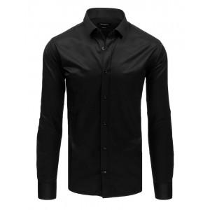 Slim fit pánska košeľa čierna so zapínaním na gombíky