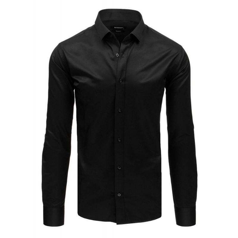 30d9406caa6d Slim fit pánska košeľa čierna so zapínaním na gombíky