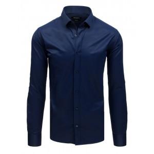 Elegantná tmavo modrá pánska košeľa so zapínaním na gombíky