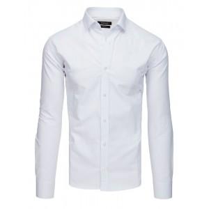 Štýlová pánska biela košeľa so zapínaním na gombíky a dlhým rukávom