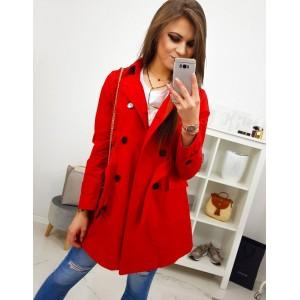 Dámsky červený jarný kabát s dvojradovým zapínaním a opaskom