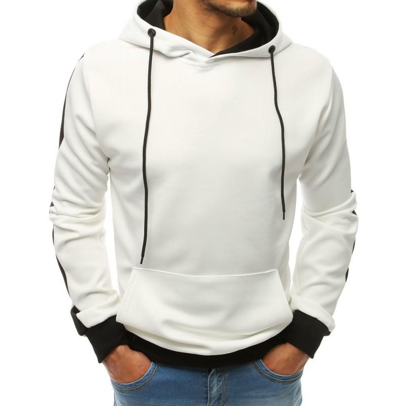 3358ca891ddb Štýlová pánska biela mikina s kapucňou v kombinácii s čiernou farbou