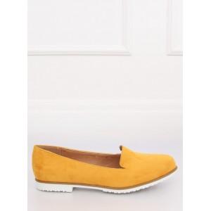 Trendy dámske semišové mokasíny v krásnej žltej farbe