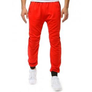 Štýlové pánske červené tepláky so sťahujúcou gumou v páse aj nohách