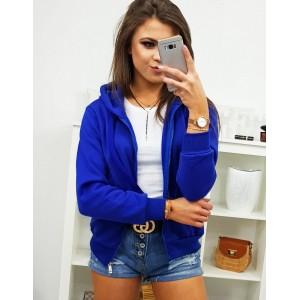 Trendy dámska street mikina v kráľovsky modrej farbe s kapucňou