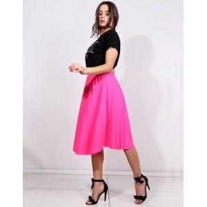7230548e2067 Módna letná neónovo ružová dámska plisovaná sukňa pod kolená