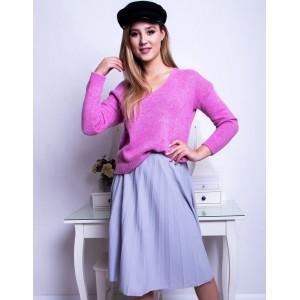 Svetlo fialová dámska midi sukňa plisovaná