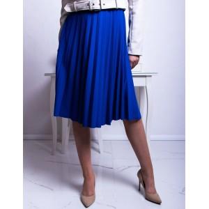 Štýlová kráľovsky modrá dámska midi plisovaná sukňa