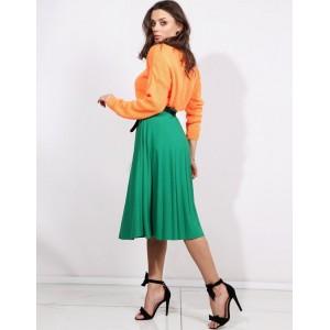 Originálna dámska plisovaná zelená sukňa pod kolená