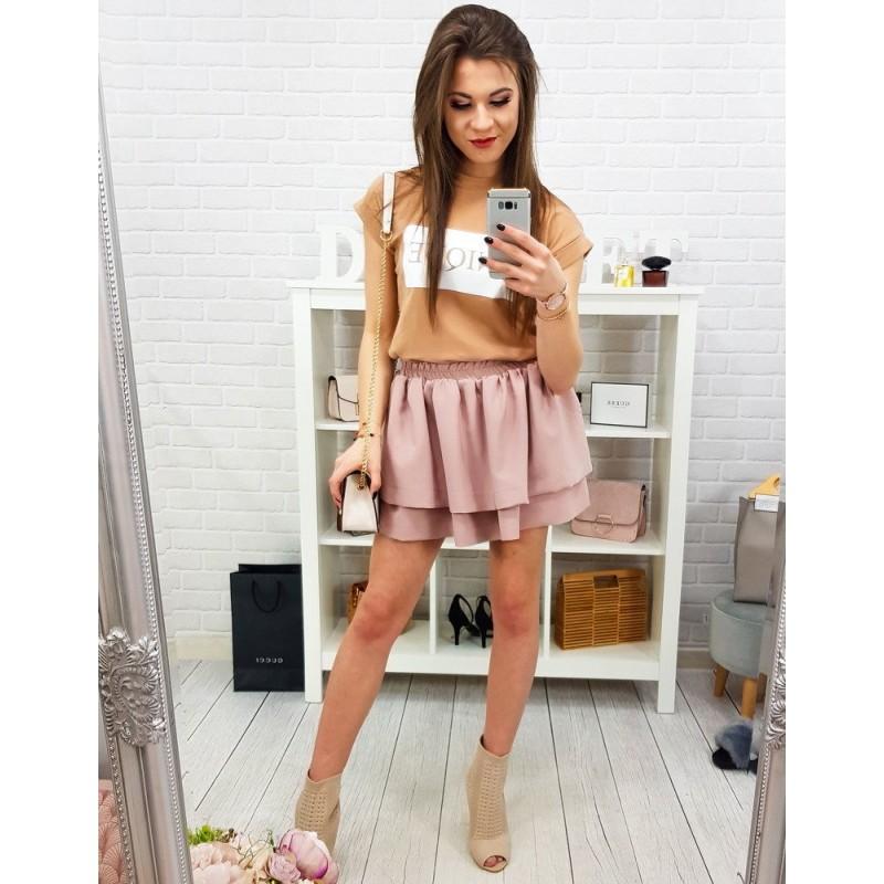 c92c3d8f1522 Štýlová mini dámska púdrovo ružová sukňa s nariasením