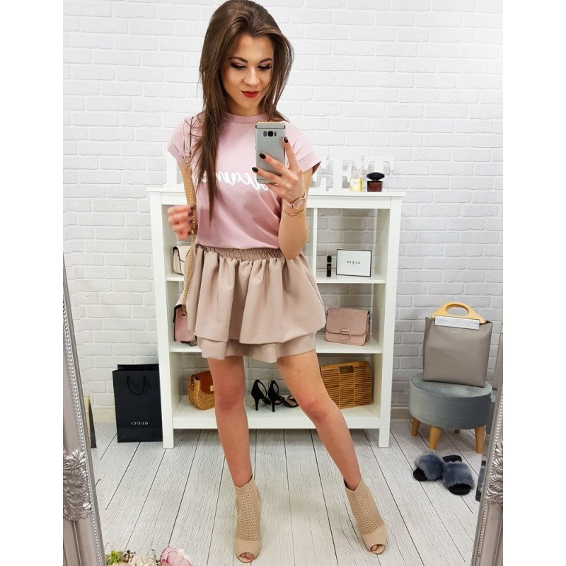 92e7ec7399cd Béžová dámska letná mini sukňa s nariasením