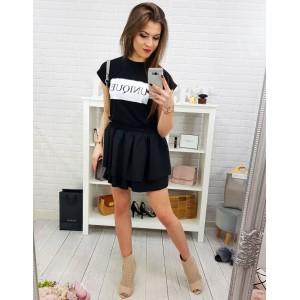 Dámska mini čierna sukňa z dvoch vrstiev s bočnými vreckami