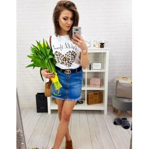 Štýlová dámska rifľová mini sukňa s predným trendy zipsom