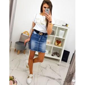 Trendy dámska mini rifľová sukňa so zapínaním na zips a gombík