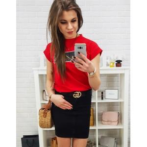 Štýlová dámska čierna mini sukňa so zapínaním na gombík a zips
