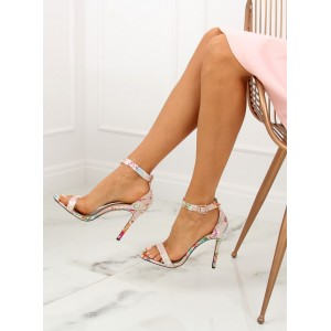 Dámske béžové sandále s orientálnym vzorom kvetín a na opätku