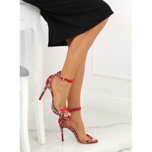 Spoločenské dámske červené orientálne sandále na vysokom opätku