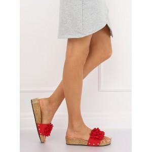 Elegantné dámske šľapky v červenej farbe