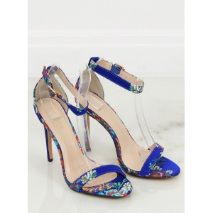 Orientálne dámske spoločenské sandále v modrej farbe so vzorom kvetín