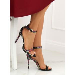 Elegantné dámske čierne orientálne sandále na vysokom opätku