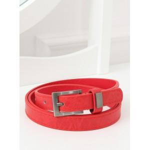 Červený dámsky opasok s mosadznou prackou a kovom na pútku