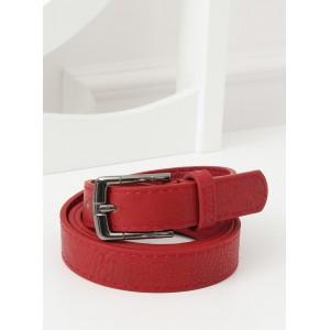 Červeno bordový dámsky úzky opasok s kovovou sponou