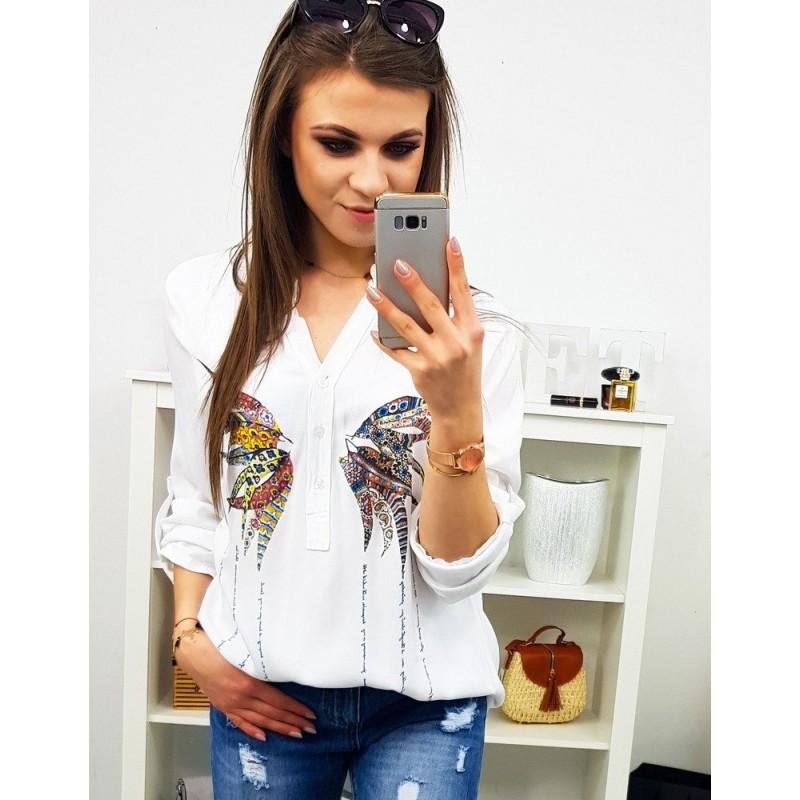 6642e9b1f2c0 Dámska biela košeľa s originálnou potlačou motýľa